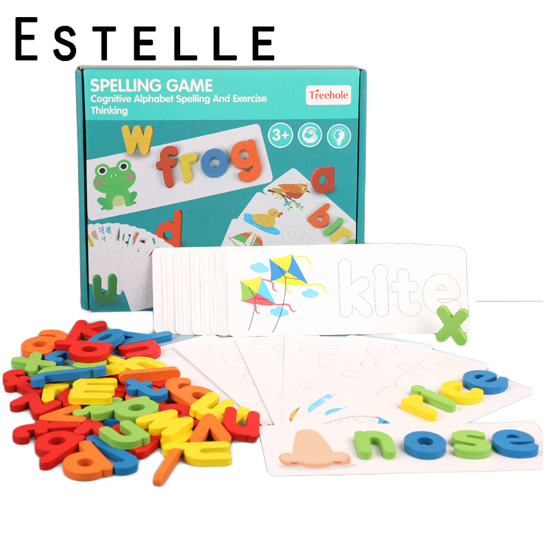 Montessori Kids Word Spelling Game Wood 26 English Letters Early Education Cognitive Practice Toy For Children Wooden Toys Gifts