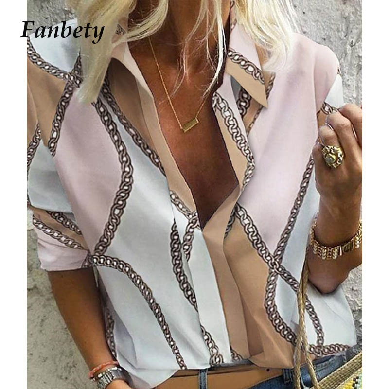 Fanbety Autumn Women Leisure   Blouse   Tops Women chain Print work office   Blouse     Shirt   Lady Stylish Long Sleeve   Blouses   femmes 5XL