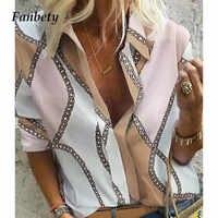 Fanbety automne femmes loisirs Blouse hauts femmes chaîne imprimé travail bureau Blouse chemise dame élégant à manches longues Blouses femmes 5XL