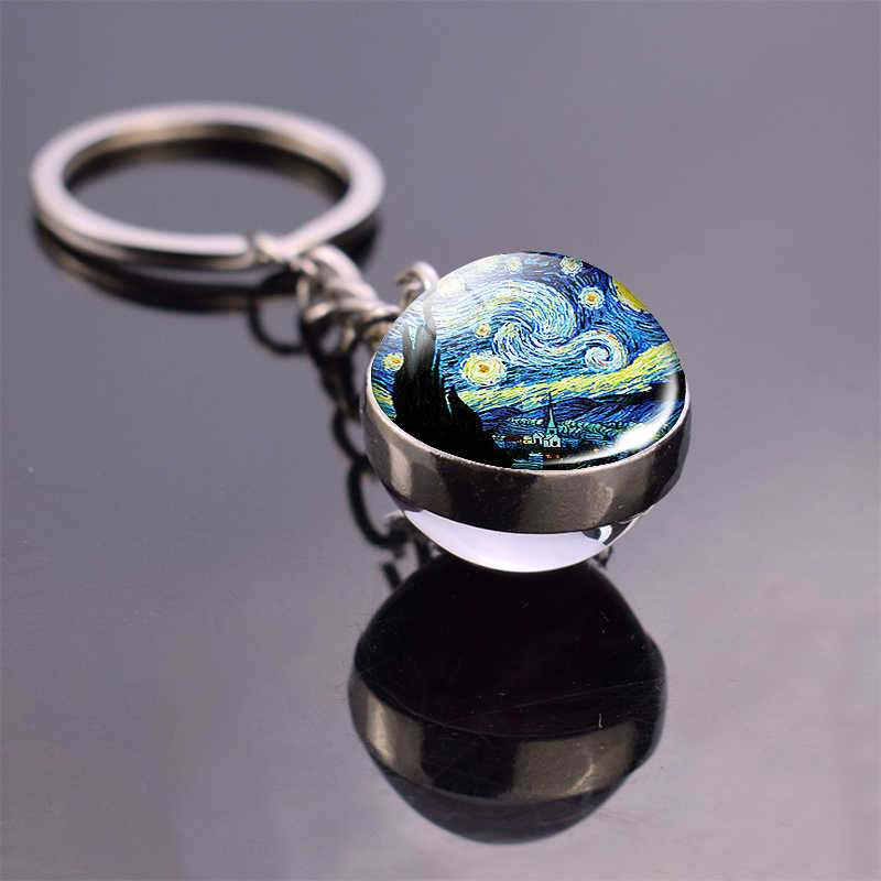 Van gogh bola de cristal chaveiro dupla face bola de vidro cabochão jóias pintura a óleo céu estrelado noite girassol pingente presentes