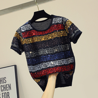 Sequined Stripe Top Thin Knitted T shirt Short Sleeves Summer 2019 New Korean Loose Matching Ulzzang 90s