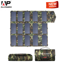 цена на ALLPOWERS Newest Solar Panel 100W Solar Charger Camouflage Color 5v 12V 18V Outdoors Foldable Portable Solar Charger USB DC Port