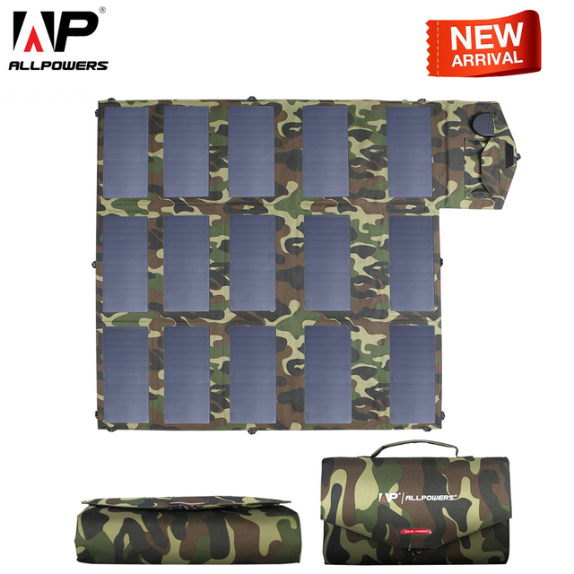 $ US $179.99 ALLPOWERS Newest Solar Panel 100W Solar Charger Camouflage Color 5v 12V 18V Outdoors Foldable Portable Solar Charger USB DC Port