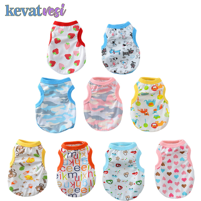 Summer Dog Clothes Breathable Dog Shirt Vest Cartoon Pattern Pet Dog Clothing for Small Medium Dog Outfit Pet Clothes