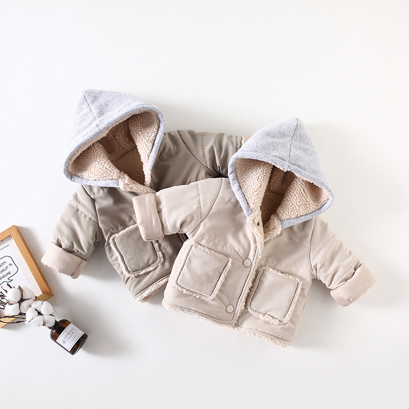 Japan Korea Winter Spring Lamb Cashmere Clip Baby Hoodies Coat for Boys Hooded Big Pocket Design Pointed Cap Outwear Kids Boy