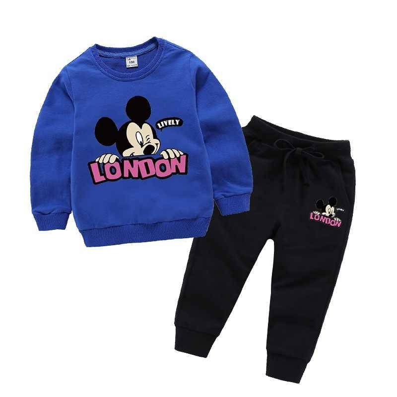 Baru Bayi Gadis Pakaian Kapas Pencetakan Kartun Lucu Dua Piece Suit Boy Pakaian Olahraga Kasual Sweater Bayi suit