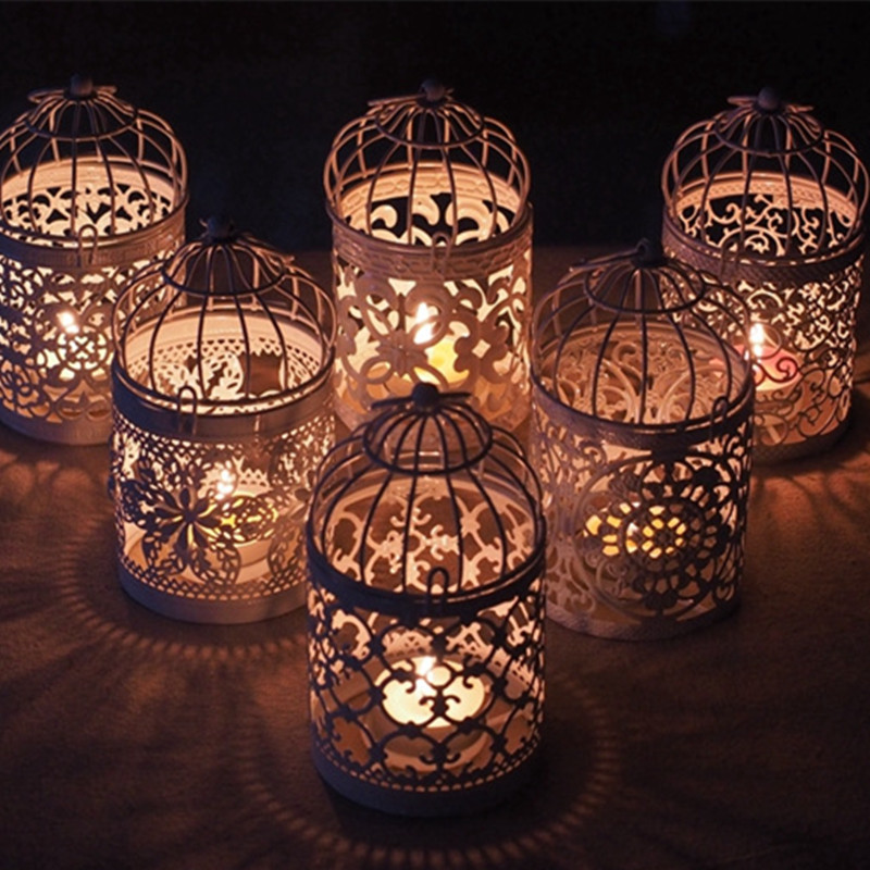 Hot Romantic Birdcage Candlestick Creative White Metal Tealight Candle Holder Wedding Centerpieces Tables Iron Holder Home Decor Candle Holders Aliexpress