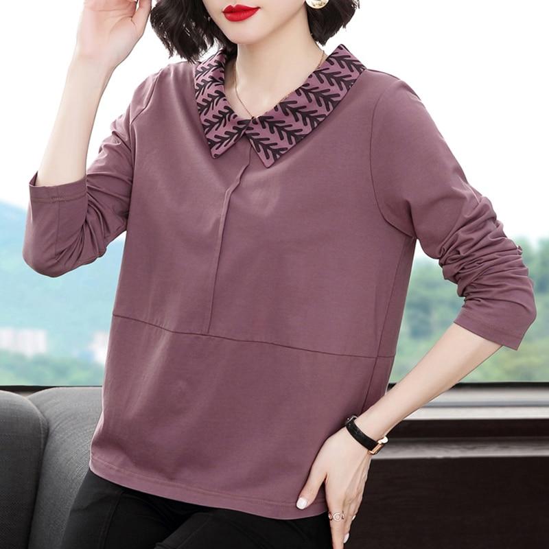 Shintimes colletto rovesciato allentato Plus Size moda coreana Patchwork T-Shirt manica lunga donna 2020 T-Shirt T-Shirt in cotone Femme