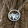 Горная сосна ожерелье в серебряном цвете подарок для пеших прогулок-природный любовник Гора походы ювелирные изделия лесное Ботаническое ...