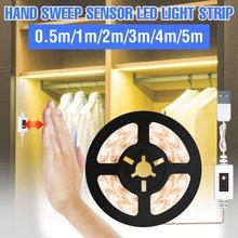 1m 2m 3m 4m 5m USB bezprzewodowy ręczny czujnik ruchu PIR światło szafkowe taśmy LED lampka do szafy 5V 2835 taśmy LED elastyczna lampa
