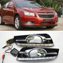 цена на Waterproof LED Daytime Running Light DRL For Chevrolet Cruze (2009-2012) DRL Fog Lamp with Turn Signal Dimmed Light