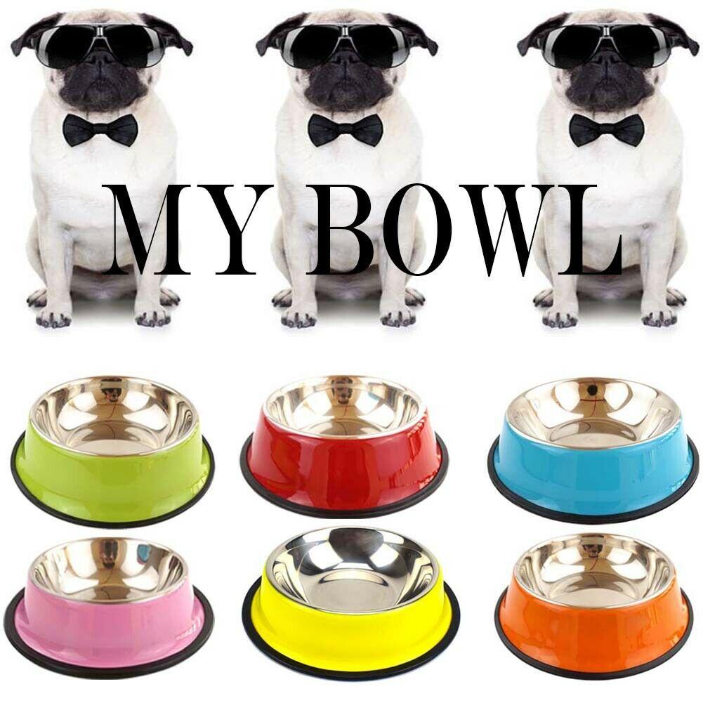 Миска Для Кормление домашних животных, противоскользящая миска для кошек и собак из нержавеющей стали, 6 цветов