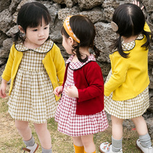 New autumn Korean style sweet candy color long-sleeved Cardigan+sweet grid dress set suit for girls