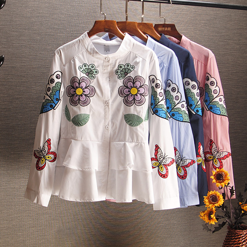 European Style Blouse Women Spring And Autumn Embroidered Ruffle Doll Shirt Long Sleeve Slim-Fit Shirt Women's Blouse Blusa Tops