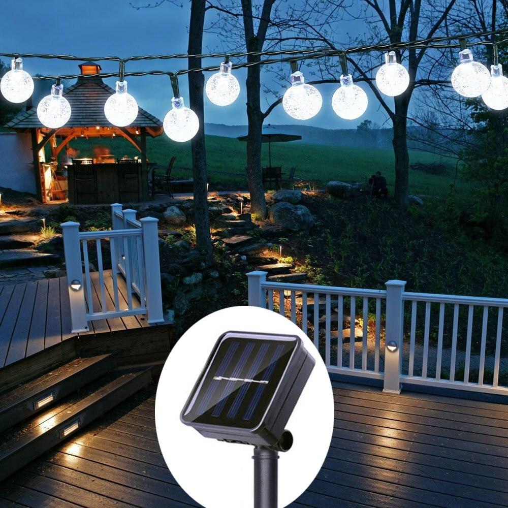 5/22M 10/200 LED Outdoor Lighting Strings Waterproof Solar Garden Light String Multicolor/Warm White Lamp Chain For Christmas