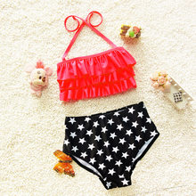 Toddler Baby Girl Bikini Set Swimwear Swimsuit Halter Lace-up Crop Top Panties Bathing Swimming Suit(China)