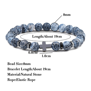 Image 5 - Hot Men Cross Black Lava Bracelets Natural Tiger Eye Stone Onyx Meditation Prayer Wooden Bead Bracelet Bangle Women Yoga Jewelry
