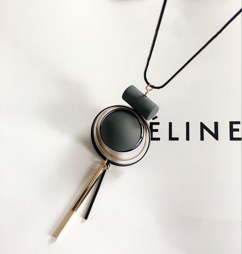 Bohemian Geometric Wood Handmade Vintage Tassel Long Sweater Chain Necklace Fashion Women Jewelry Accessories