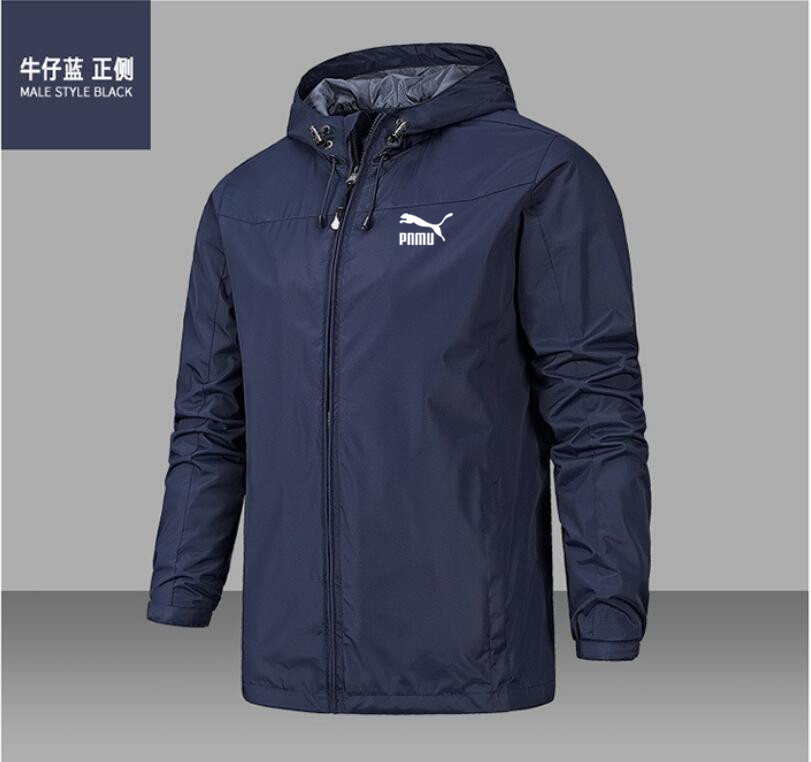 2020 new fashion men's jacket coat Hooded Coat long sleeve zipper coat wind proof and waterproof spring and autumn style 4