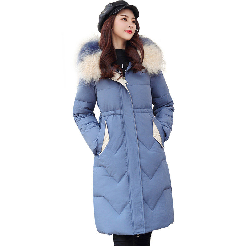 QIHUANG 2019 Winter Women   Down     Coat   Slim Thicken Women   Down   Cotton Jacket with Artificial fur Collar Hooded Winter Women Parkas