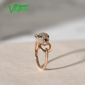 Image 5 - VISTOSOแหวนทองคำแท้ 14K 585 กุหลาบทองเสือดาวแหวนมรกตประกายเพชรครบรอบเครื่องประดับFine