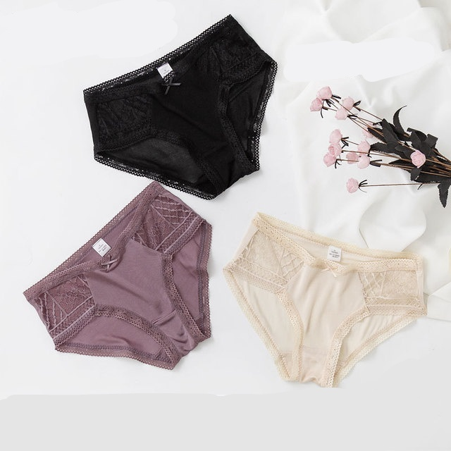 3 حزمة المرأة 100% الحرير الدانتيل رقيقة مثير سراويل ملخصات الملابس الداخلية الملابس الداخلية Ml XL TG005