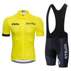 Image 5 - 2020 STRAVA Pro Team yaz bisiklet Jersey seti bisikletçi giysisi nefes erkekler kısa kollu gömlek bisiklet önlüğü şort 20D jel pedi