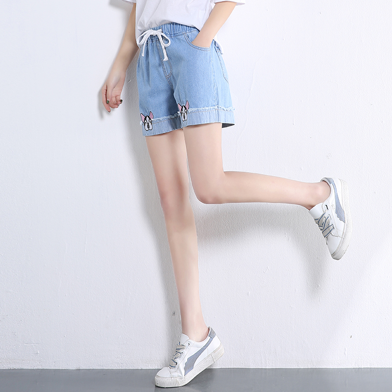 Cute Dogs Embroidery Girls Shorts Harajuku Fashion Elastic Waist Student Denim Shorts Chic Tie Waist Flanging Denim Pants
