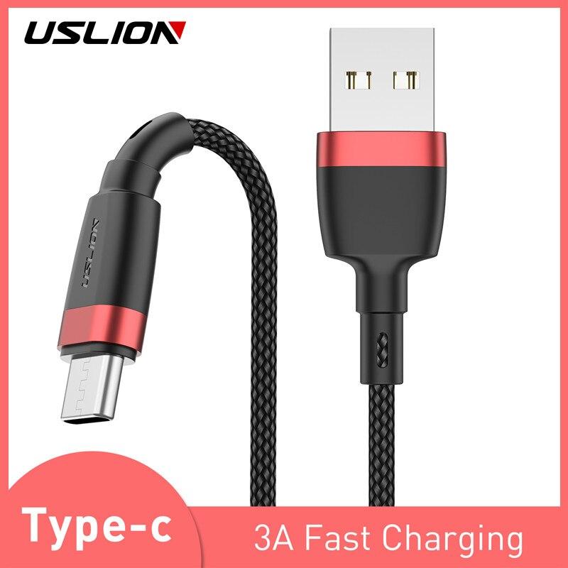 USLION Tipo C Cabo USB Para Samsung Galaxy A50 S10 S9 S8 Huawei P30 3.1 Carregamento Rápido Carregador Para Xiaomi nota Redmi 7 Cabo de Dados