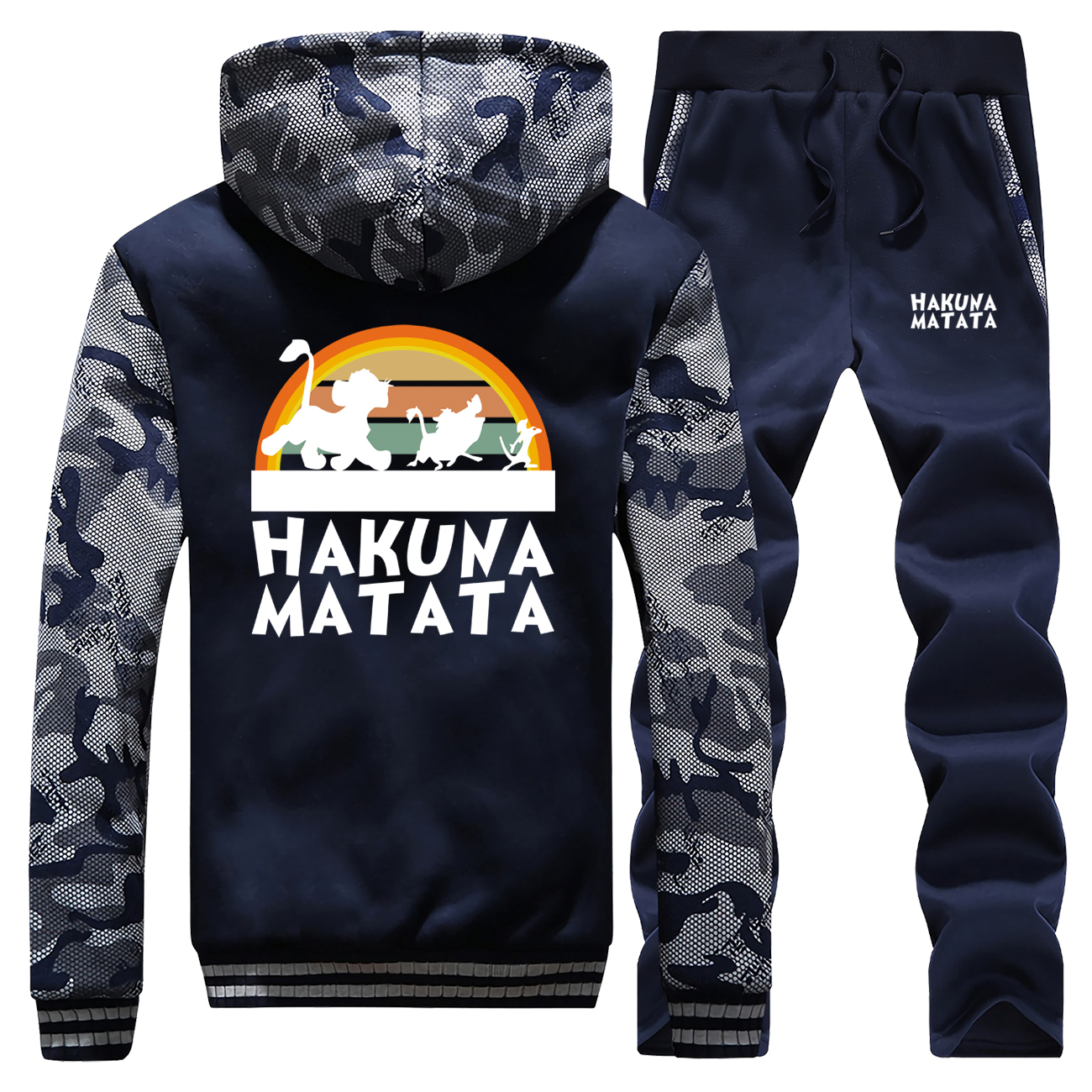 Hakuna Matata Fleece Sweatshirts Men Casual Fleece Lion King Camo Hoodies Pant 2pcs Sets Men Harajuku Animal Kingdom Streetwear