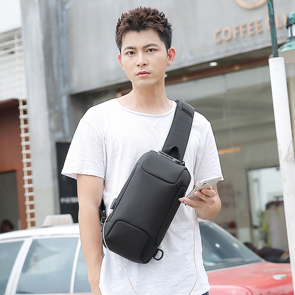 Running Oxford Cloth Travel One Shoulder Cycling Lightweight Code Lock Crossbody Multifunction Men Chest Bag Outdoor Anti Theft