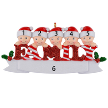 Sparkle Family of 5 polyresin glossy personalized christmas tree ornaments for home decorations