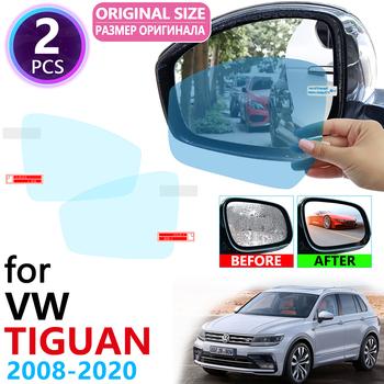 Dla Volkswagen VW Tiguan MK1 MK2 2008 ~ 2020 pełna pokrywa lusterko przeciwdeszczowe Anti Fog akcesoria foliowe 2010 2015 2019 tanie i dobre opinie Lusterko wsteczne cartoon Pojazd logo Inne naklejki 3d Jest dostarczana 2inch 5inch Volkswagen Tiguan