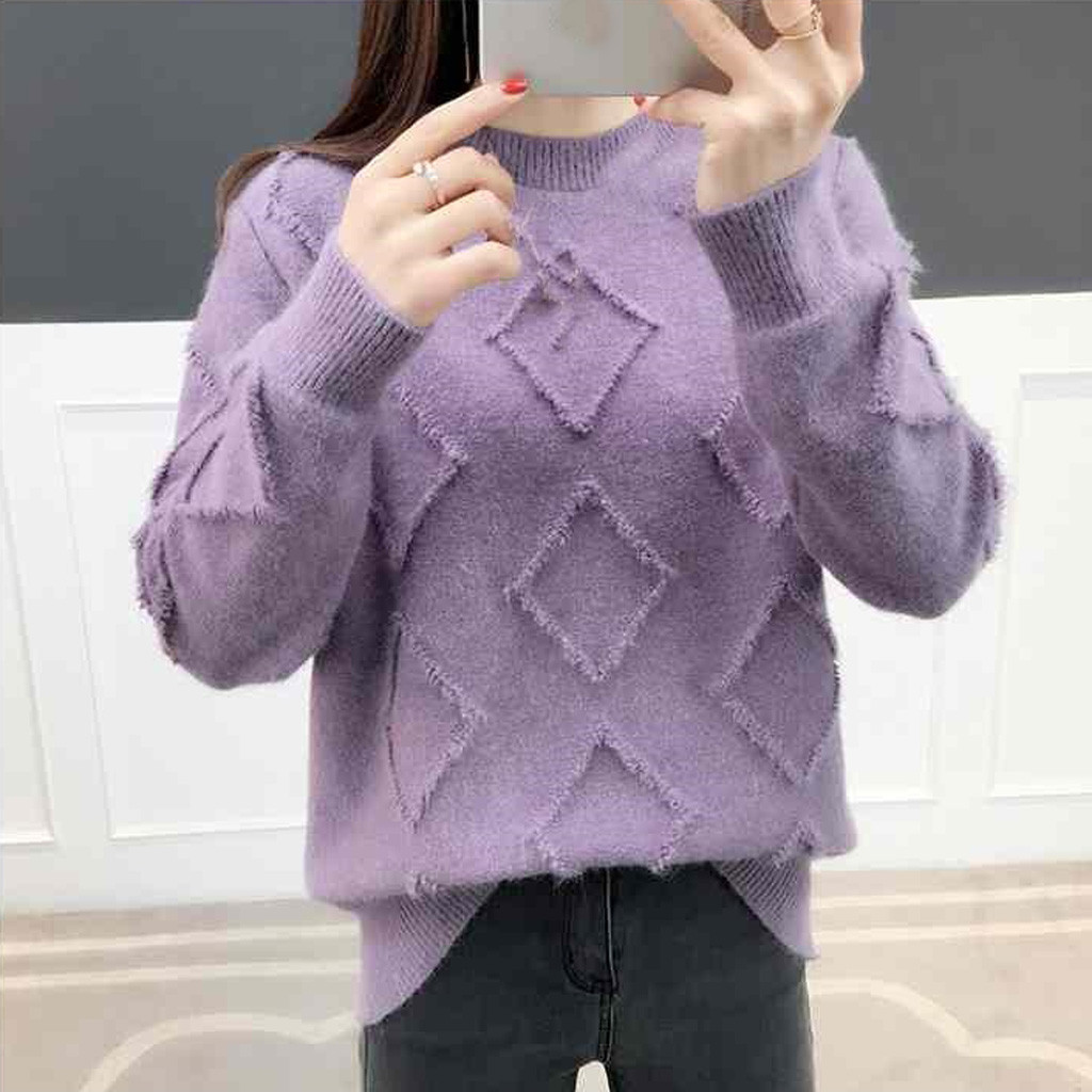2019 Women Winter Solid Color Sweater Argyle Long Sleeve Round Neckr Knitting Tops Basic Soft Handfeel Knitting Casual Sweater