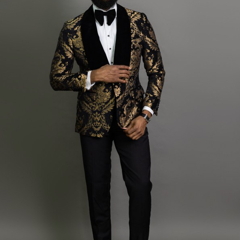 2 Piece Black Floral Jacquard Prom Men Suits Slim fit with Velvet Shawl Lapel Wedding Groom Tuxedo Male Fashion Clothes
