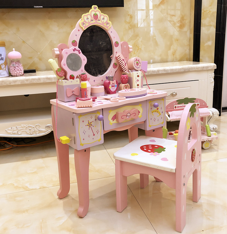 Pink Cute Simulation Princess Dressing Table Children's Dressers For 3-4-5-6 Years Old House Wooden Toy Girl Child Birthday Gift