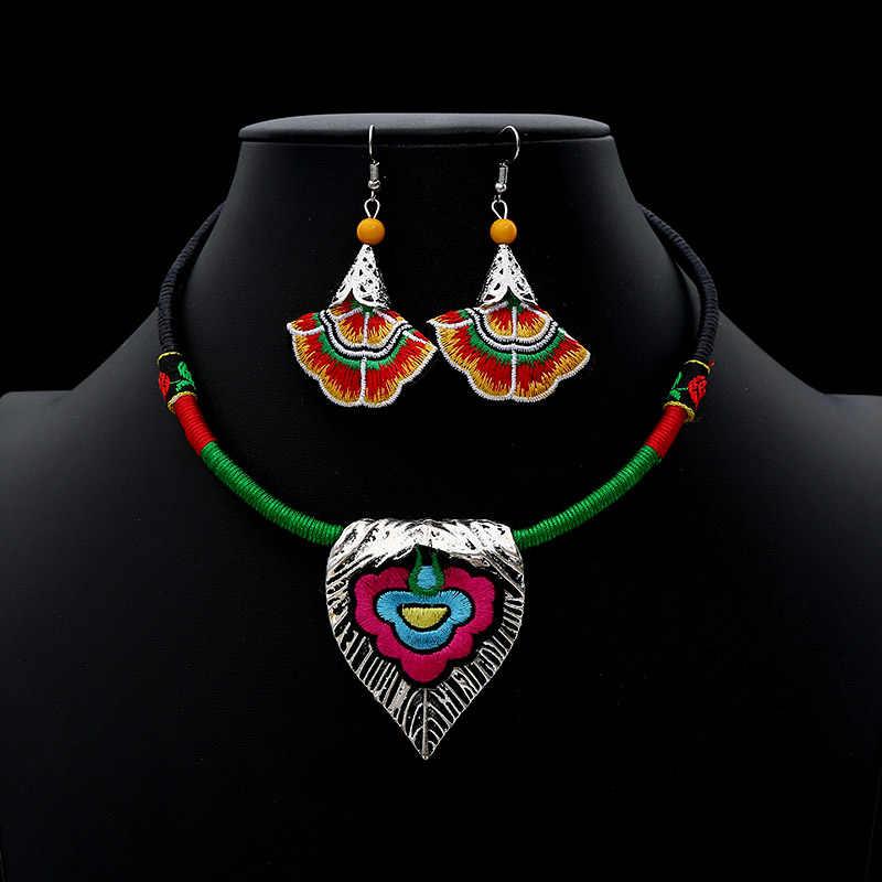 2019 Vintage Etnis Perhiasan Sest Buatan Tangan Perak Antik Kalung Kalung Drop Anting Anting-Anting BoHo Kostum Aksesoris