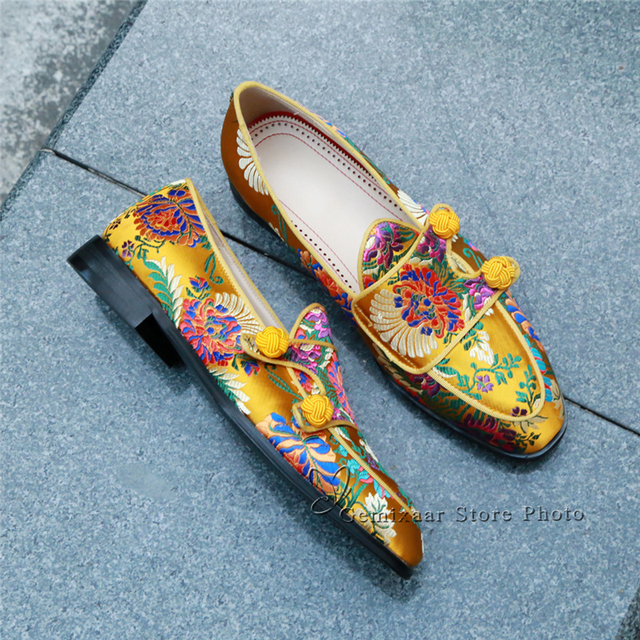Ethnic Embroidery Flower Party Shoes Man Round Toes Flat Heel Slip-on Loafers Knitted Ball Belt Decor Spring Men Shoes 5