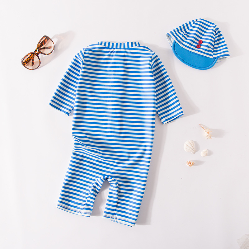 Men's One-piece Swimming Suit Blue And White Stripe Sailor Suit Hooded-KID'S Swimwear Hot Springs Clothing