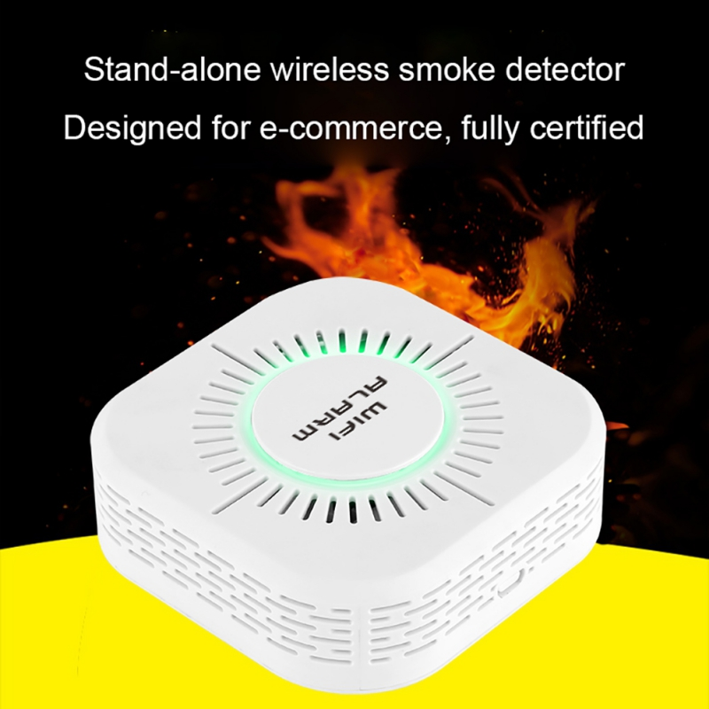 All-around Smoke Detector Protection Alarm Sensor Wireless 433MHz Fire Security Alarm  360 Degree  For School Home Factory