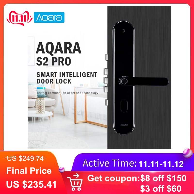 Aqara S2 Pro Smart Intelligent Door Lock Password Fingerprint Key Unlock APP Real Time Monitor Privacy Lock Home Device-in Electric Lock from Security & Protection