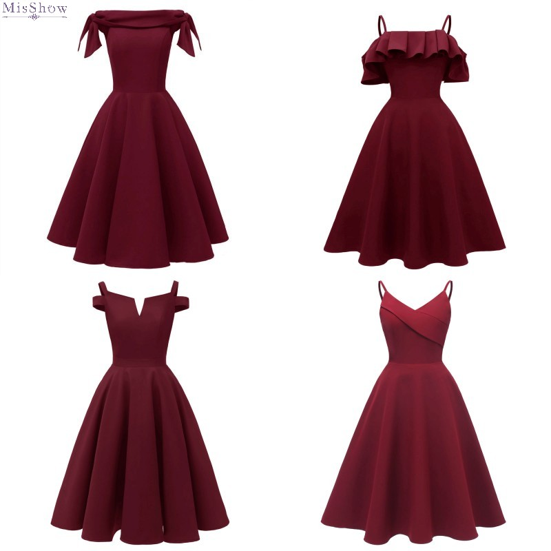 robe   Cocktail     Dresses   2019 Coctail   Dress   Short   Cocktail   Party   Dress   Elegant Burgundy Formal   Dress   vestidos de coctel