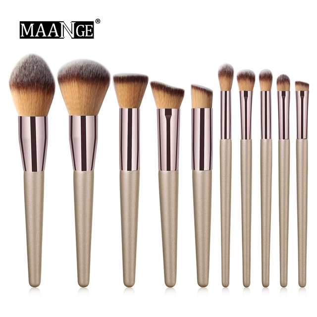 10 pcs Professional Makeup Brushes Metal Tube Paint Handle Eye shadow Eyelash Concealer Cosmetic brush Set drop shipping 2