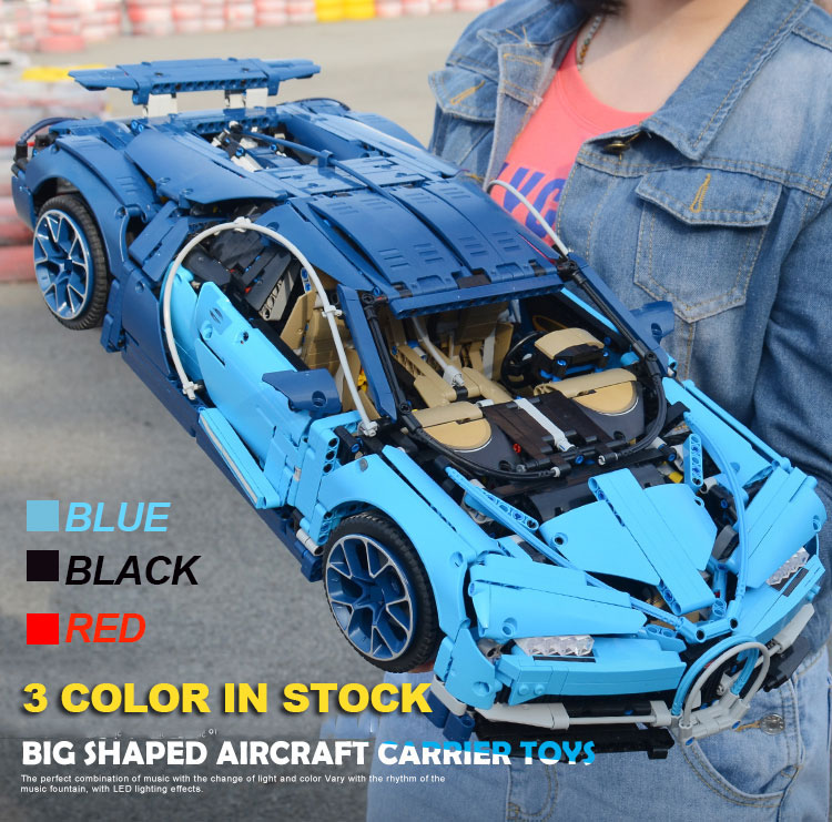Lepinblocks Technic Bugatti Chiron Blue  Racing Car Supercar Building Blocks 42083 20086 Toy  3625pcs