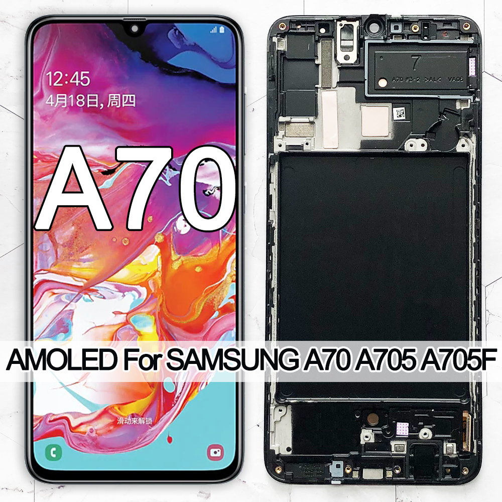 ORIGINAL 6.7'' SUPER AMOLED <font><b>LCD</b></font> Display For <font><b>Samsung</b></font> Galaxy <font><b>A70</b></font> <font><b>LCD</b></font> A705 A705F SM-A705MN Display Touch Screen Digitizer Assembly image