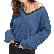 Winter Fashion Women Long Sleeve V-Neck T-shirt Loose Sweater Knitwear Knitted Pullover Tops v neck high low ombre knitwear