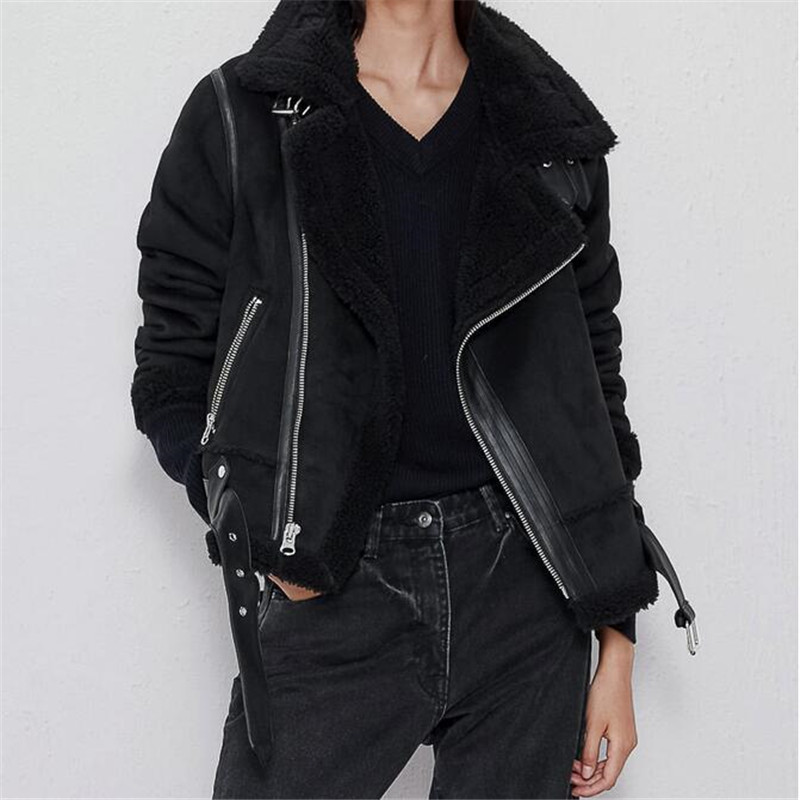 Warm women's winter motorcycle   Suede   velvet jacket female short lapels fur thick plus velvet jacket 2019 bomber jacket