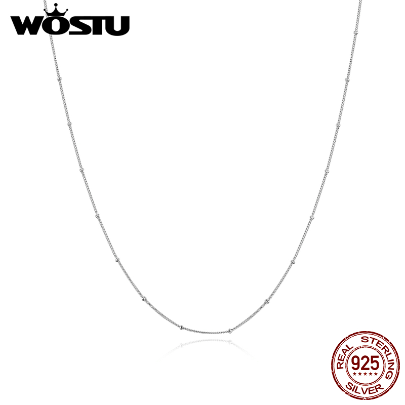 WOSTU Genuine 925 Sterling Silver Small Beads Simple Necklace Platinum-Plated Chain Link For Women Fashion Jewelry Gift CQN391