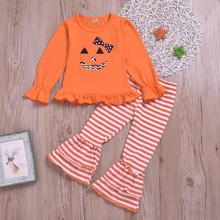 Kds Clothes Set Toddler Baby Girls Halloween Pumpkin Long Sleeve Tops+Striped Bell-bottoms Pants Outfits free shipping xl 5100 xl5100 projection tv lamp uhp 120w for so ny kds r50xbr1 ks 50r200a kds r60xbr1 kds 60r200a