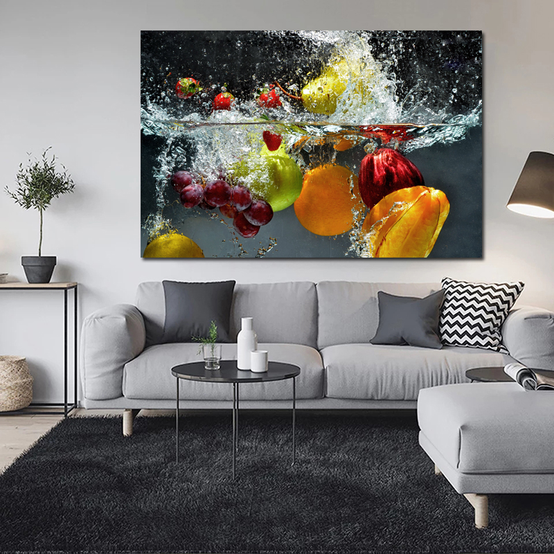 Fruit In Water Art Poster Print Wall Picture Coloring Canvas Painting For Home Kitchen Decoration Unique Gift